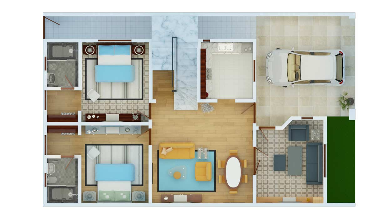 House-with-parking-2D-Floor-Plan